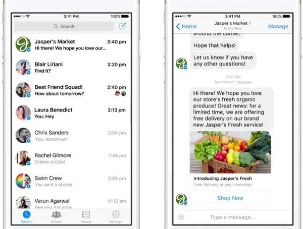 Facebook Messenger permette alle aziende di inviare pubblicità sotto forma di messaggi