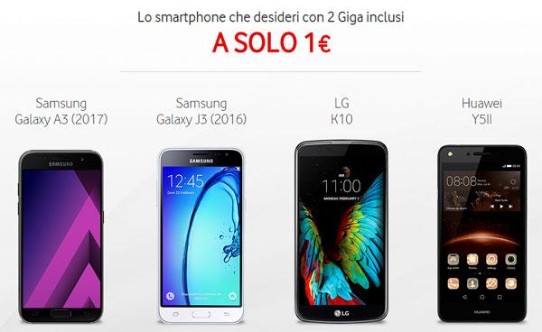 vodafone galaxy a3 e altri smartphone a 1 euro