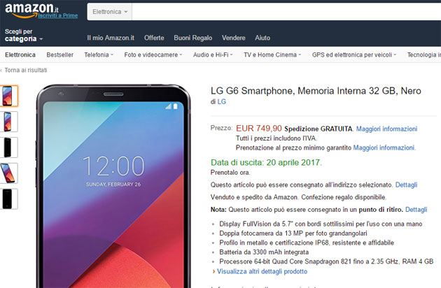 LG G6 in preordine su Amazon.it