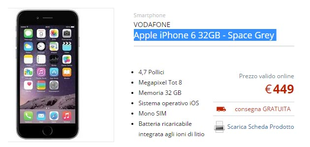 Apple iPhone 6 32GB in Italia a 449 euro
