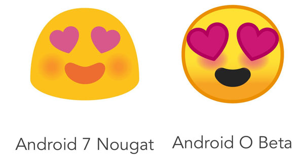 Differenza Emoji Android 7.0 Nougat e Andorid O beta
