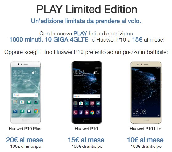 3 PLAY Limited Edition con Huawei P10, P10 Plus e P10 Lite