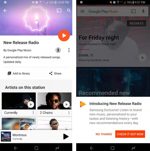 New Release Radio in Google Play Musica