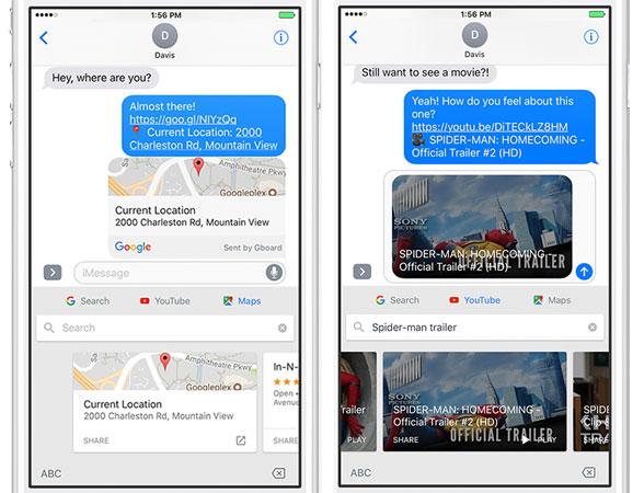 L'ultimo aggiornamento Gboard per iOS aggiunge il supporto a Maps e YouTube
