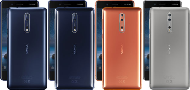 Nokia 8 - Polished Blue, Tempered Blue, Steel, Polished Copper