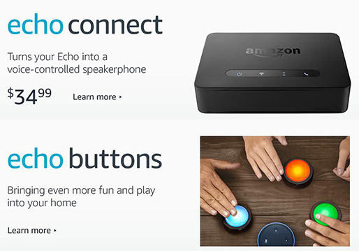 Amazon Echo Connect e Echo Buttons