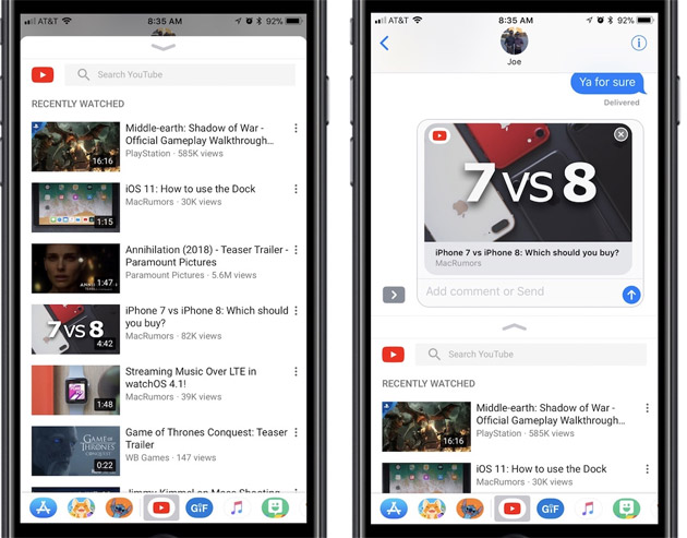YouTube per iOS con supporto per iMessage