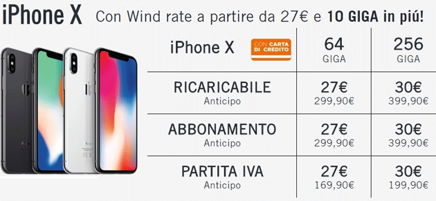 Apple iPhone X con Wind - infografica offerte