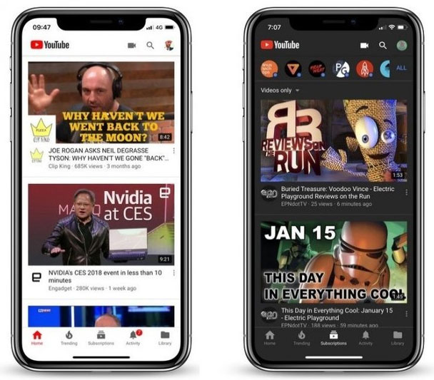 Youtube 'light' e 'dark' a confronto su Apple iPhone X