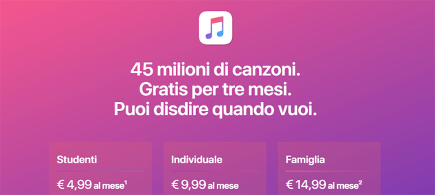Apple Music in Italia - tabella costi