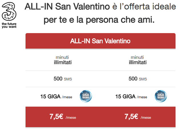 tabella costi offerta 3 ALL-IN San Valentino