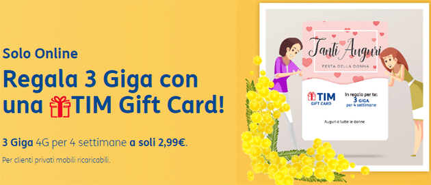 Regala 3 Giga con una TIM Gift Card