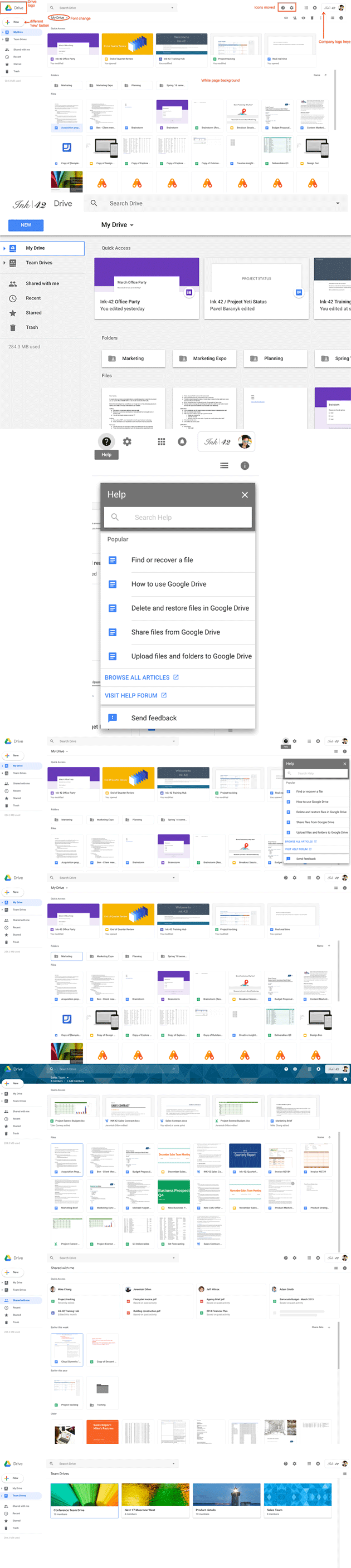 Google Drive - la nuova interfaccia 2018