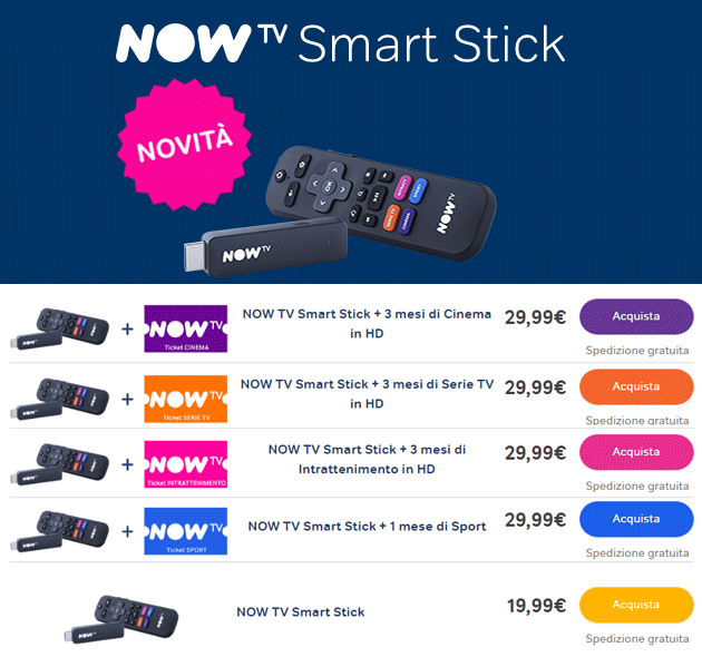 NOW TV Smart Stick - Costi ed Offerte
