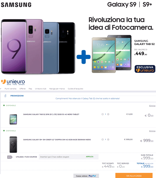 Acquista Samsung Galaxy S9 Family e ricevi in abbinata Samsung Galaxy Tab S2