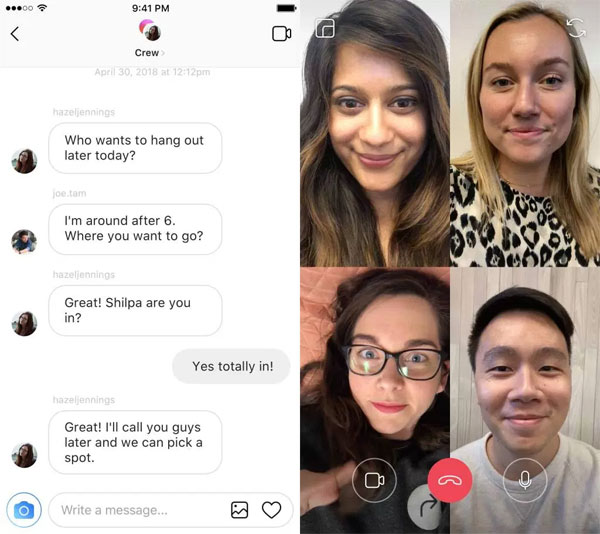 Chat video in Instagram