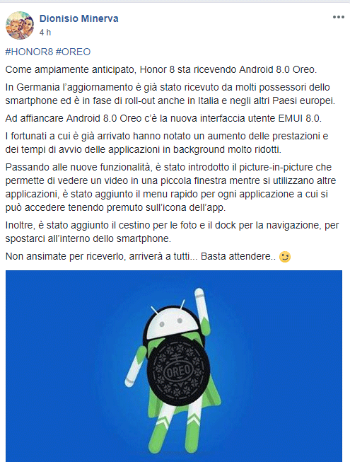 Android 8 oreo per Honor 8 in Italia
