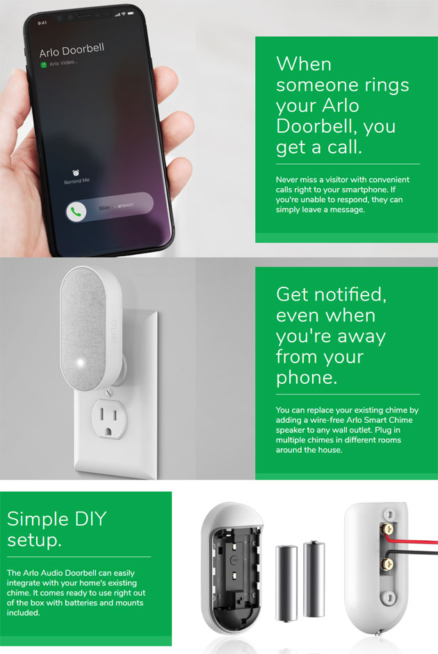 Arlo Audio Doorbell e Arlo Chime