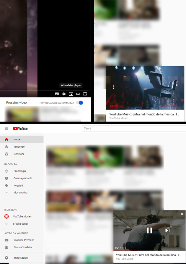 Esempio di video pop-up su Youtube desktop