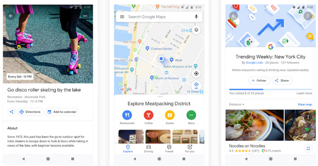 Google Maps, la ridisegnata tab Esplora