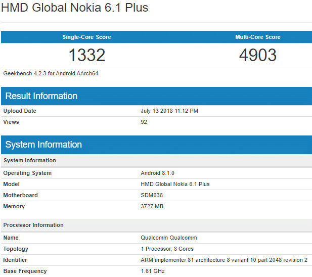 Nokia 6.1 Plus su Geekbench
