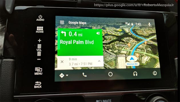 Vista satellitare in Google Maps su Android Auto