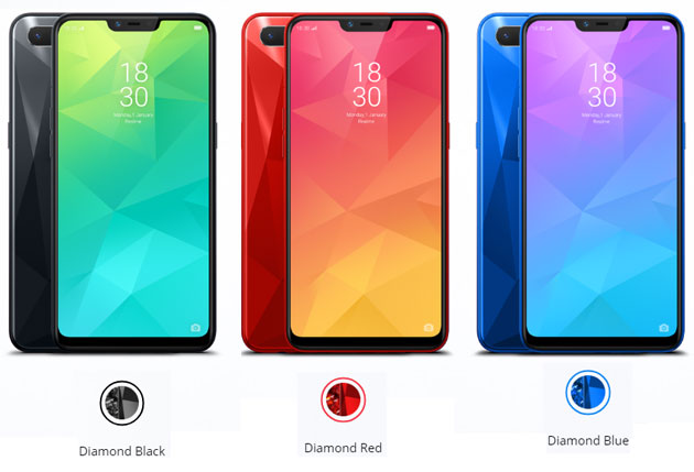 Oppo Realme2 - varianti di colore Diamond Black, Diamond Red e Diamond Blue