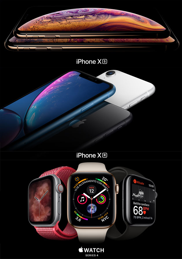 Apple iPhone Xs, iPhone Xs Max, iPhone Xr, Apple Watch Series 4