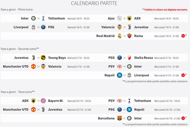 Partite Champions Calendario.Vodafone Tv Elenco Partite Di Champions League Visibili Su
