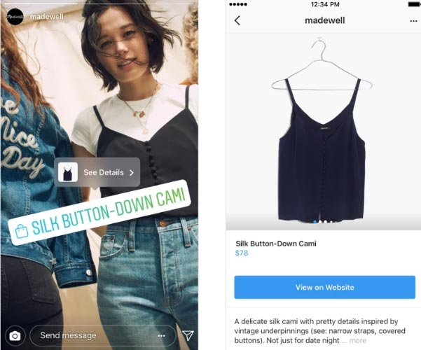 Instagram, Shopping nelle Storie