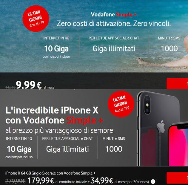 Vodafone Simple Plus con iPhone X 64GB fino al 7 settembre 2018