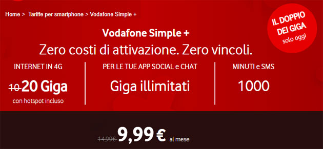 Vodafone Simple Plus valida il 21 settembre 2018