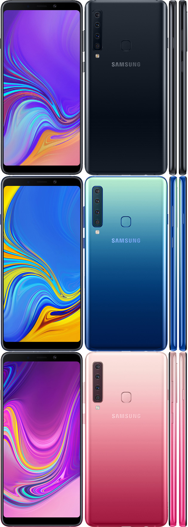 Samsung Galaxy A9 (2018) in Caviar Black, Lemonade Blue e Bubblegum Pink