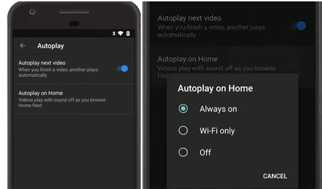 Come gestire Autoplay on Home in Youtube