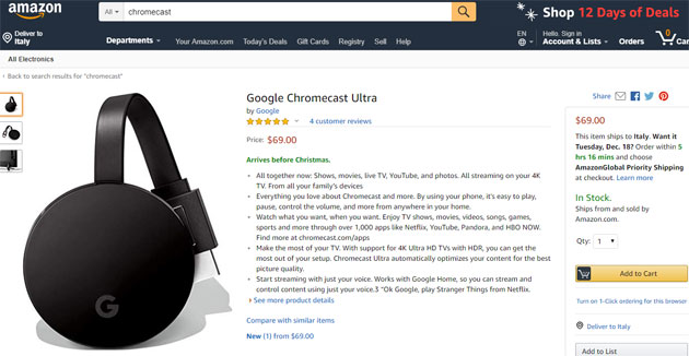Google Chromecast Ultra su Amazon.com