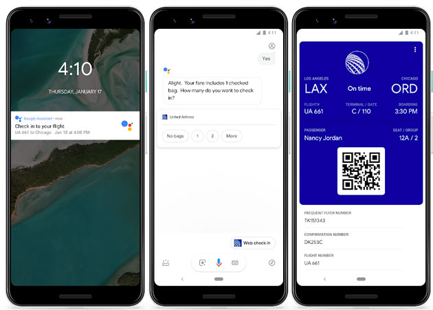Check-in del volo con Google Assistente