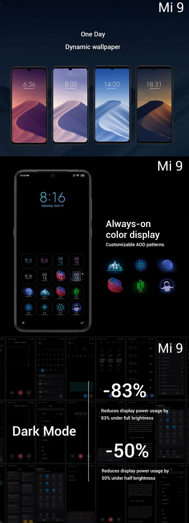 Xiaomi Mi 9 - Dynamic Wallpaper, Dark mode, Always-On Display a colori