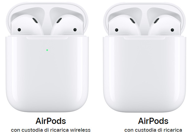 Apple AirPods 2 con custodia di ricarica wireless vs Apple AirPods 2 con custodia di ricarica standard