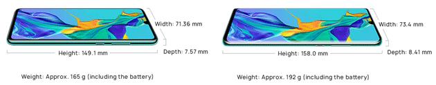 Huawei P30 e P30 Pro: dimensioni a confronto