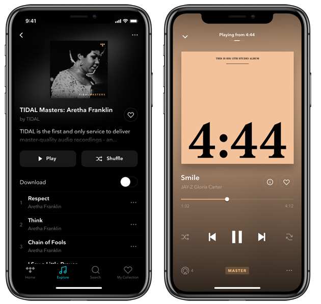 Music MQA su app TIDAL su smartphone Apple iPhone X (iOS)