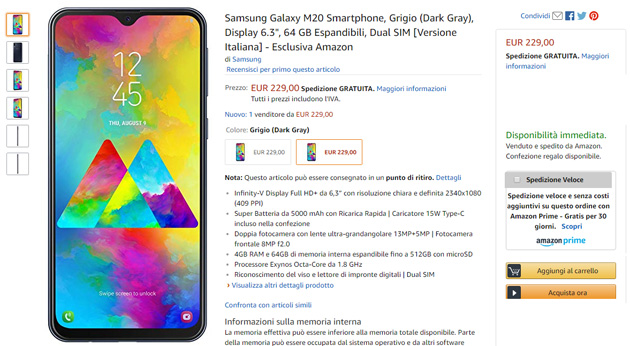 Samsung Galaxy M20 in Italia su Amazon.it