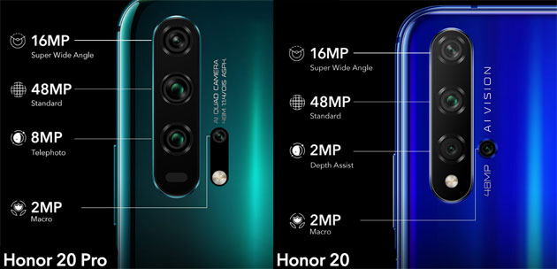 Confronto fotocamere Honor 20 vs Honor 20 Pro