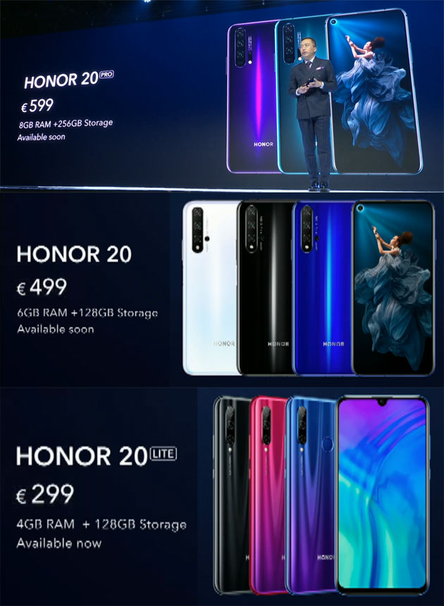 Honor 20 Series - Prezzi e Disponibilita'