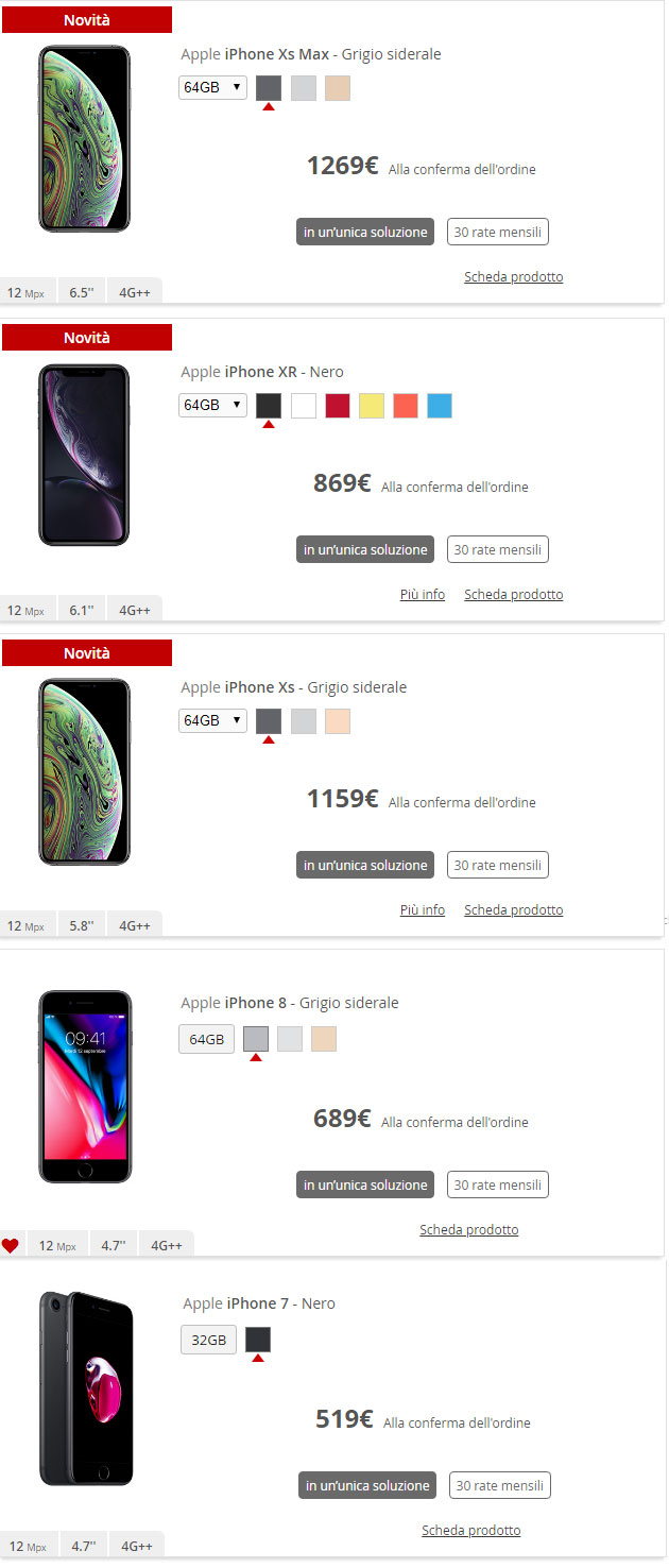 Iliad, smartphone disponibili in catalogo
