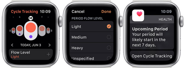 Apple WatchOS 6: Cycle Tracking app
