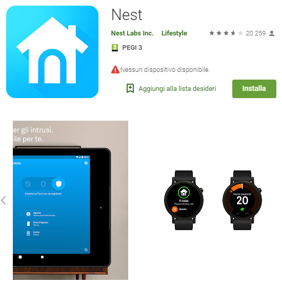 App Nest sul Google Play Store