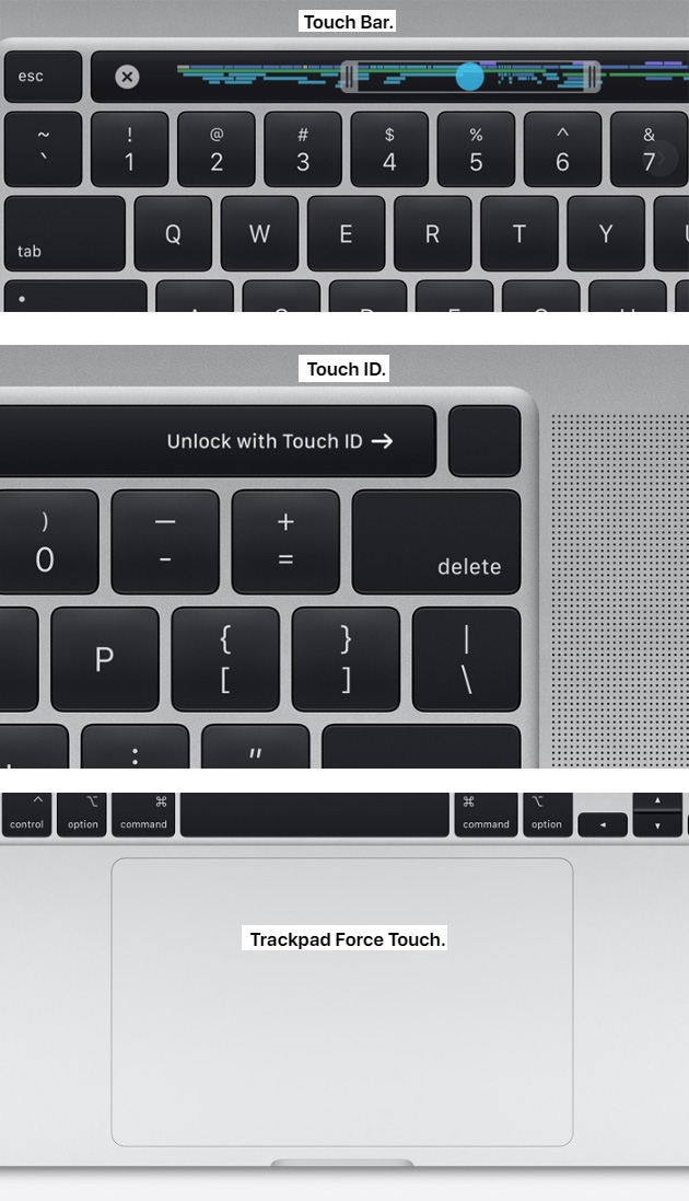 MacBook 16 -  Touch Bar, Touch ID, Trackpad Force Touch