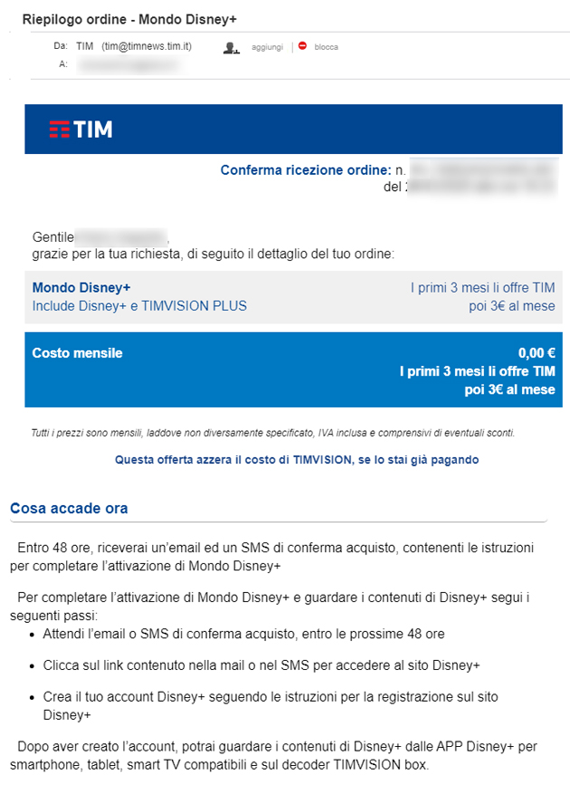 Fase 8: mail da TIM di conferma dell'ordine