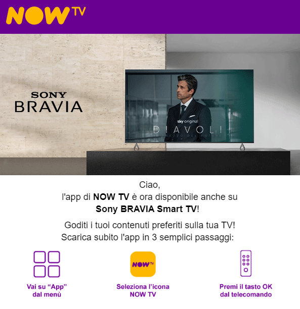 App NOW TV per Android TV: la mail ufficiale di NOW TV