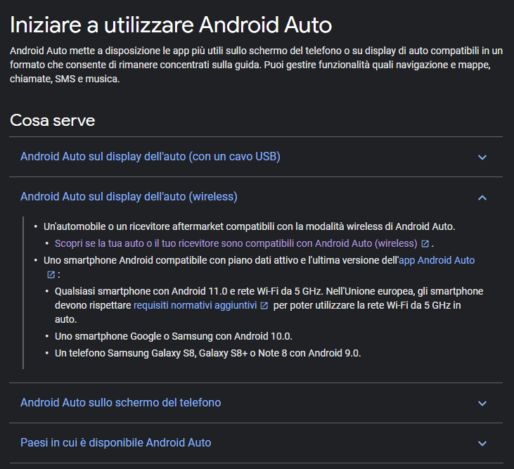 Android Auto sul display dell'auto (wireless)